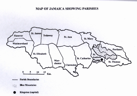 Moths of Jamaica: Map of Jamaica showing parishes